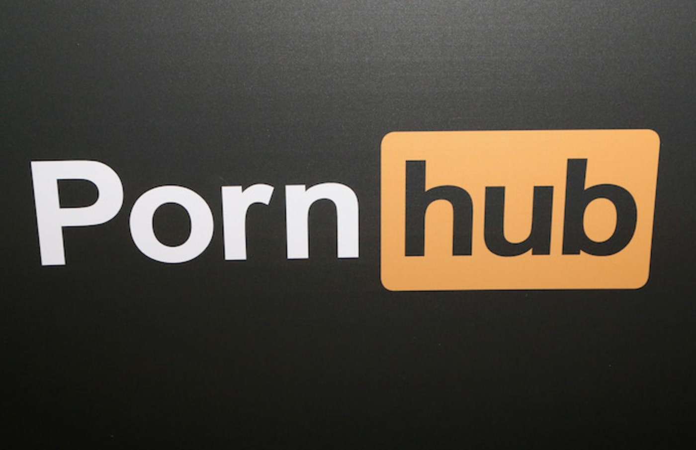 A Pornhub logo is displayed at the company's booth during the 2018 AVN Adult Expo.