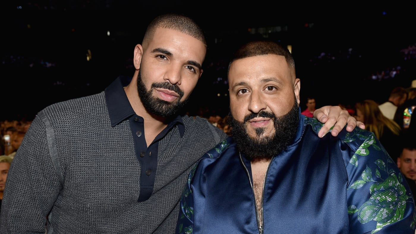 Recording artists Drake (L) and DJ Khaled