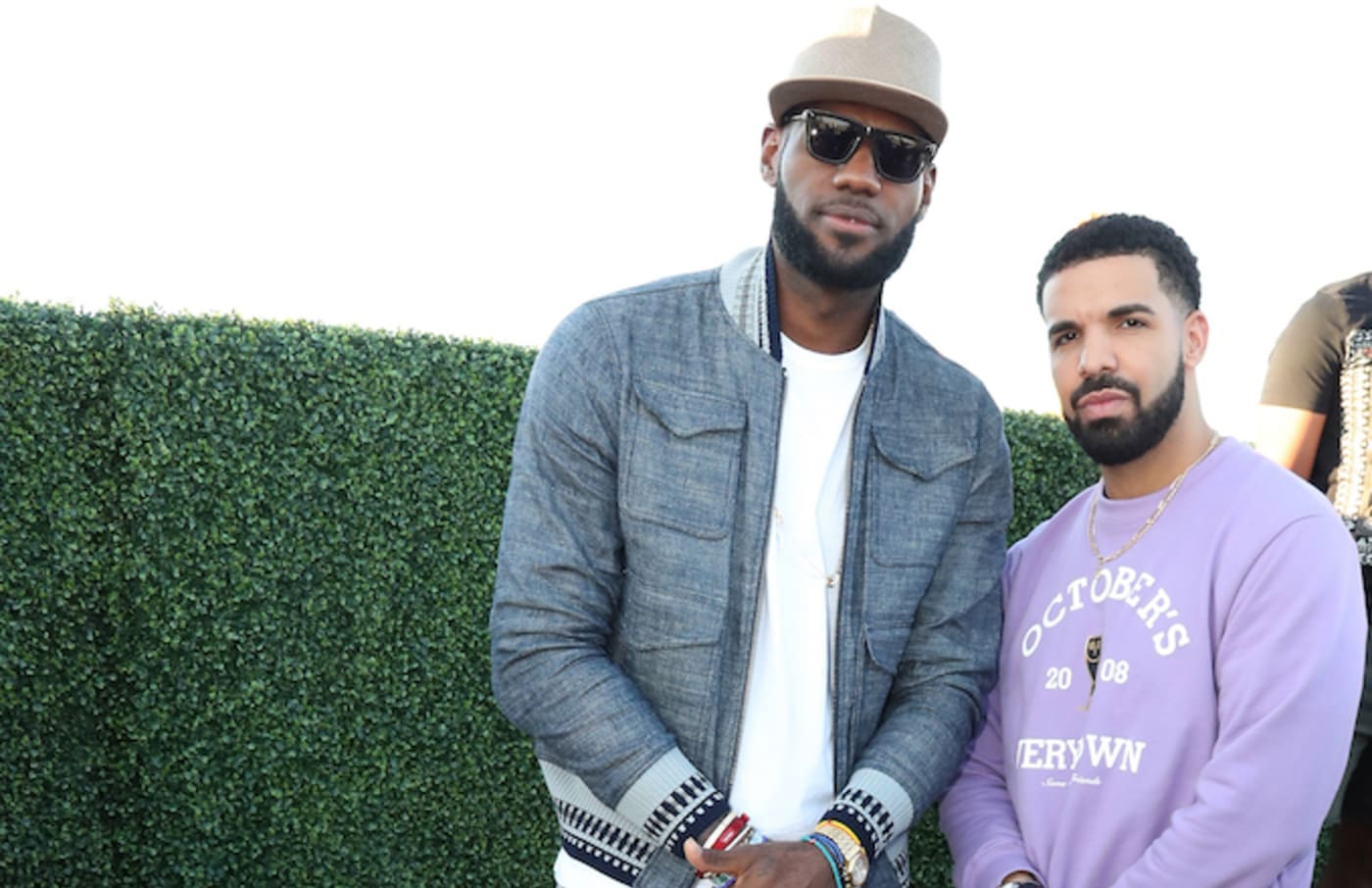 Drake and LeBron James at their pool party in 2017.