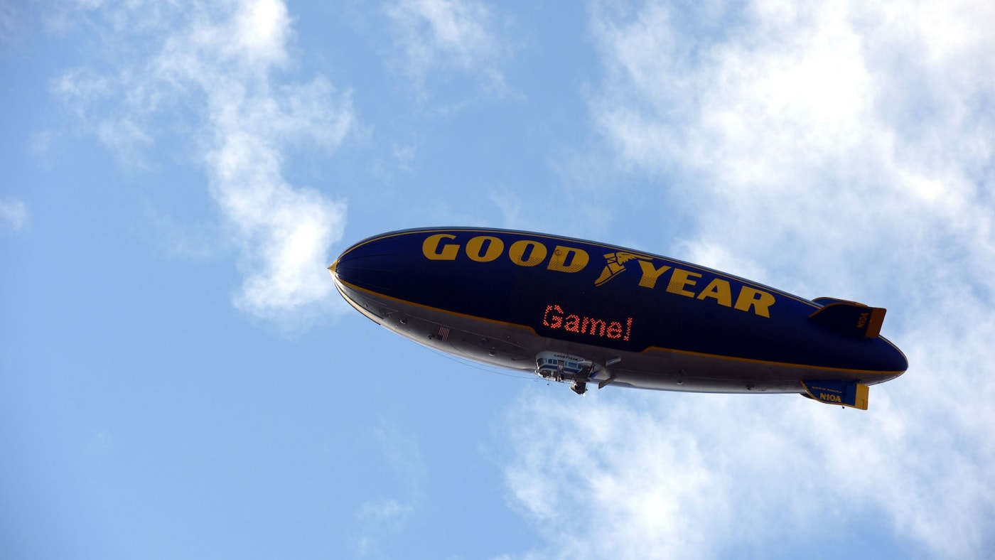 The Goodyear Blimp flies over the field before the 99th Rose Bowl Game.
