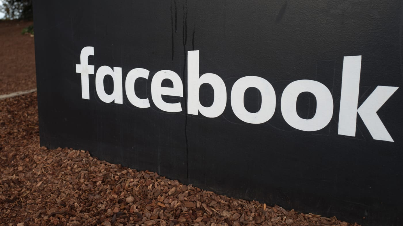 Sign with logo at the headquarters of Facebook in Silicon Valley.