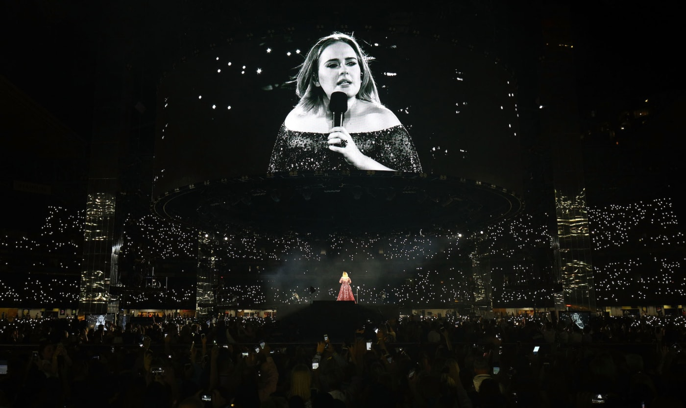 Adele performing live in concert