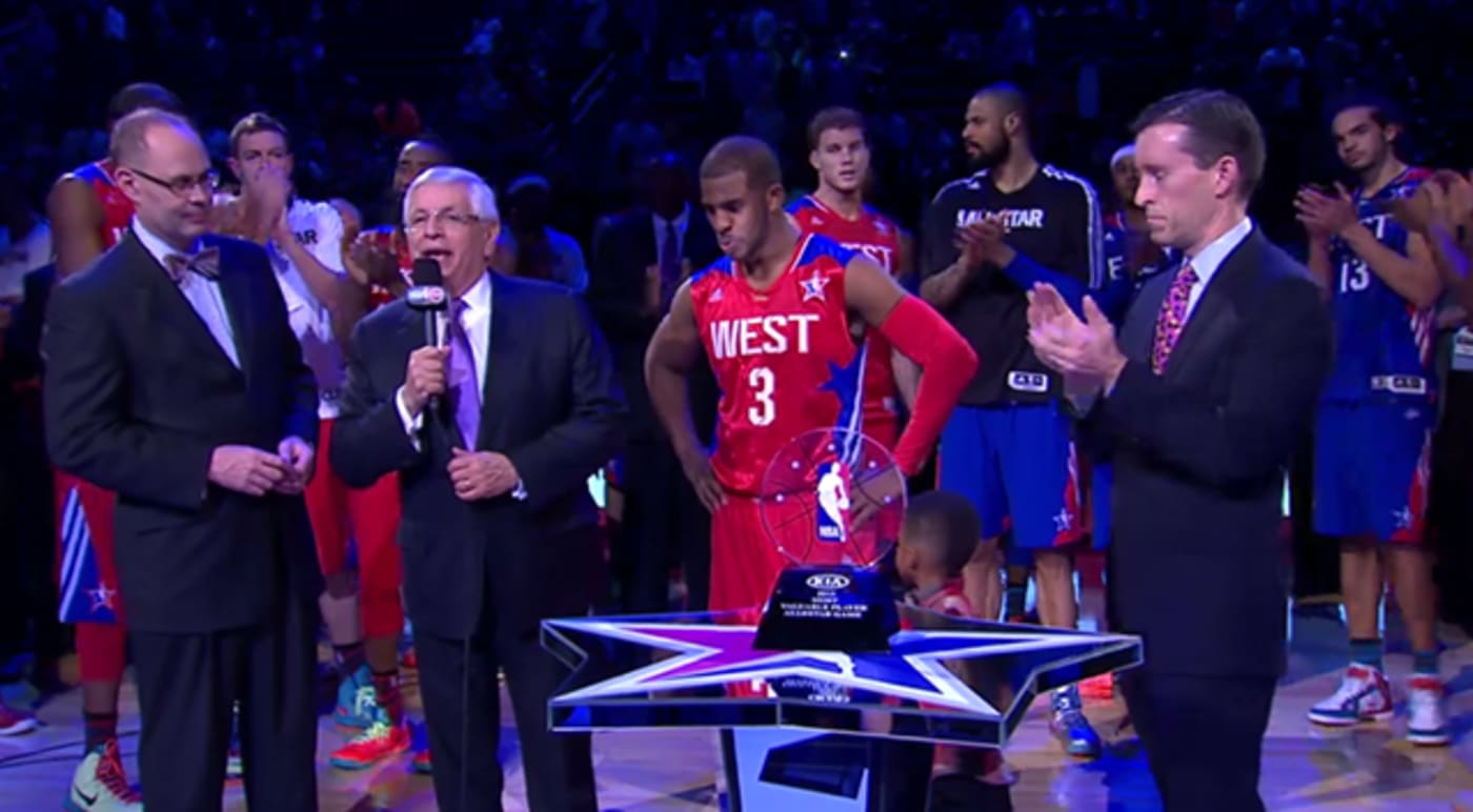 David Stern and Chris Paul during 2013 NBA All Star Game