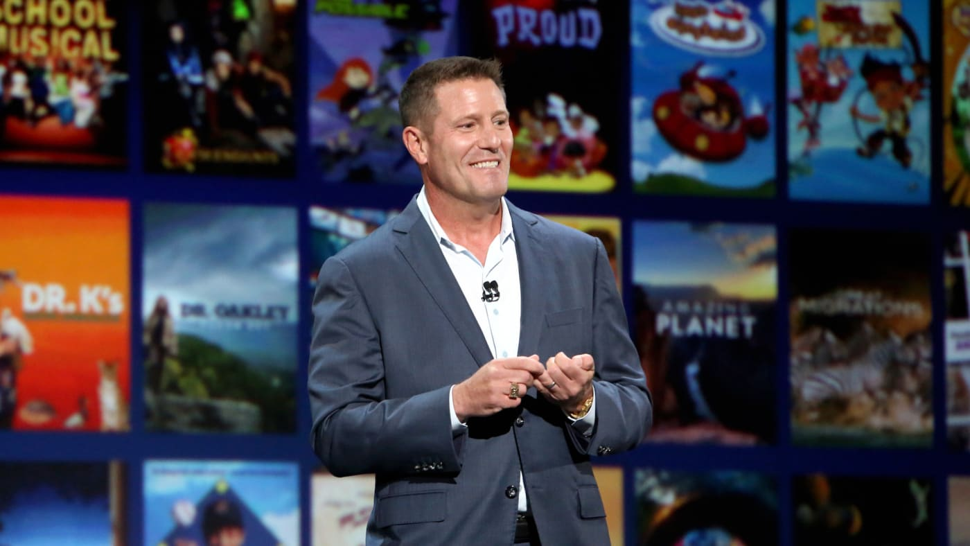 Disney's Chairman of Direct to Consumer division Kevin Mayer at Disney+ Showcase.