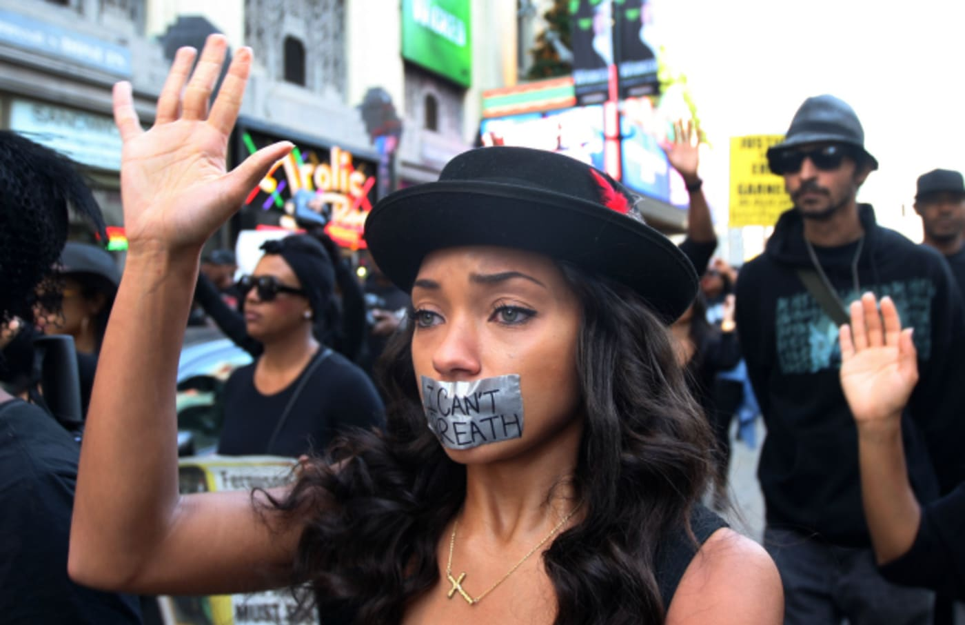 People march on Hollywood Boulevard in protest