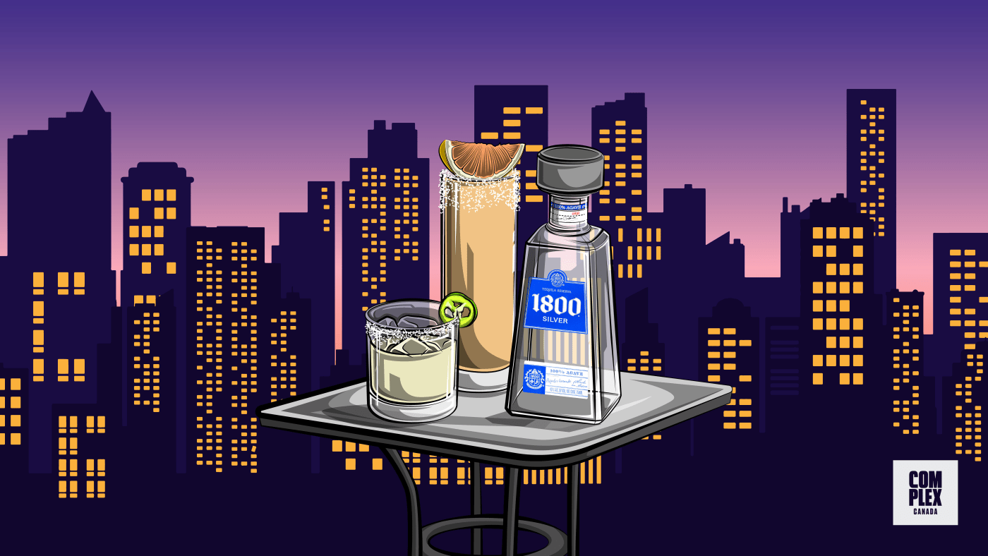 Illustration of 1800 Tequila Silver alongside margarita and paloma cocktails against a night city skyline