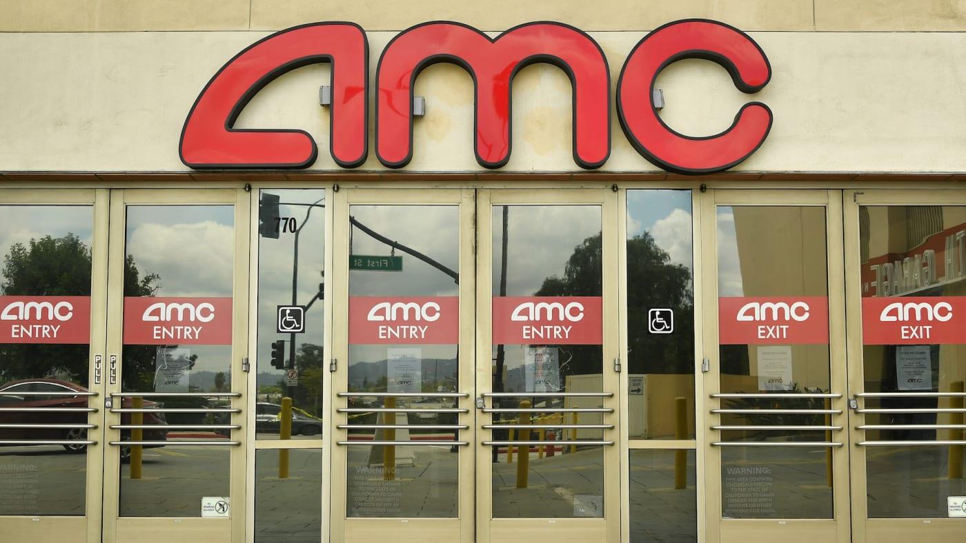 Outside of AMC Burbank Town Center 8 during the coronavirus pandemic.
