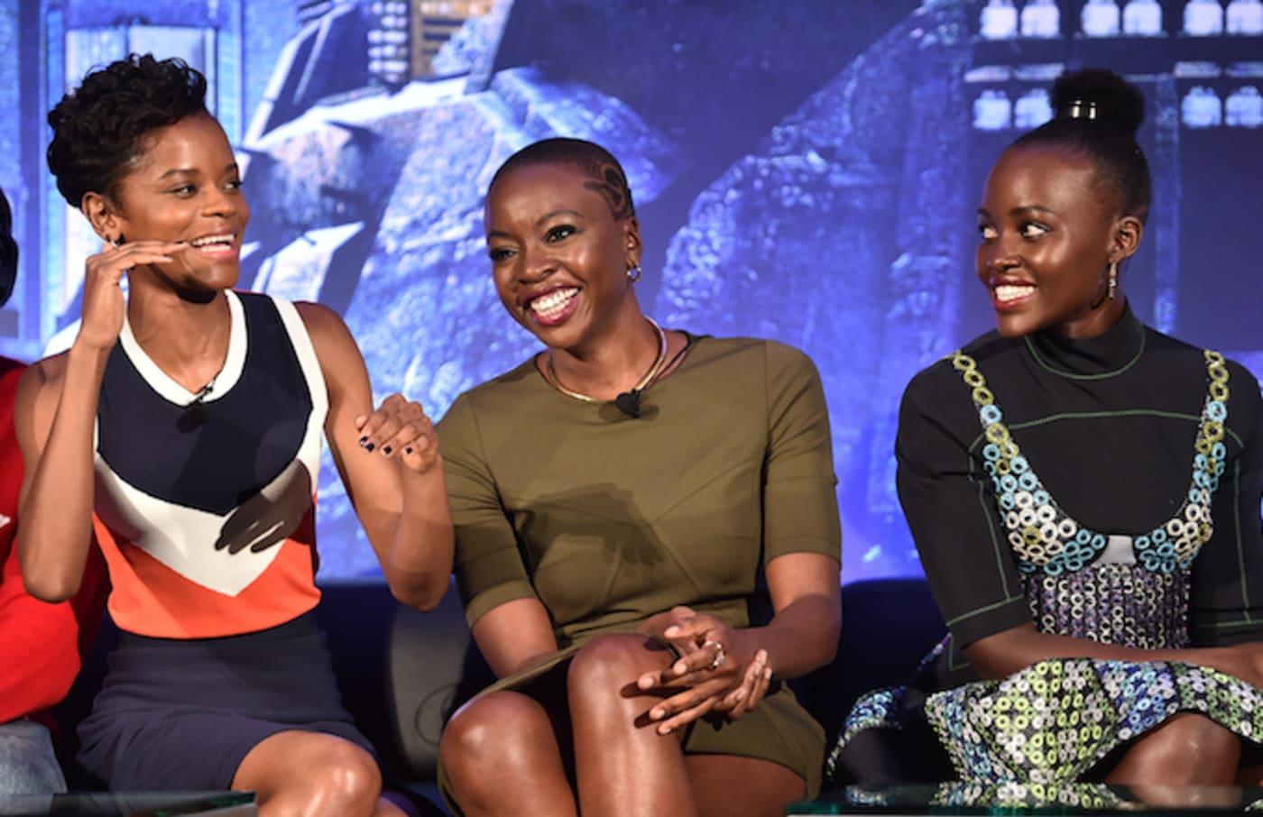 'Black Panther' cast members Letitia Wright, Danai Gurira and Lupita Nyong'o