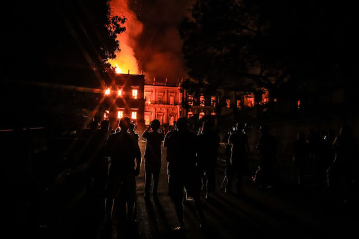 This is a picture of a museum on fire.