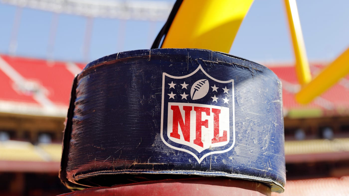 A detail view of the NATIONAL FOOTBALL LEAGUE logo