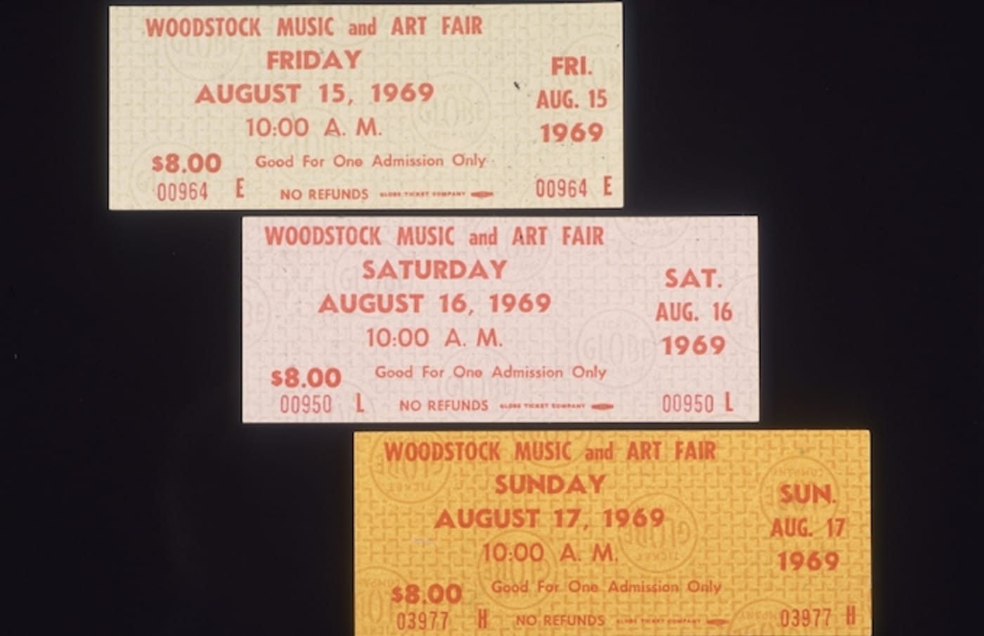 Closeup still life of three single day admission tickets