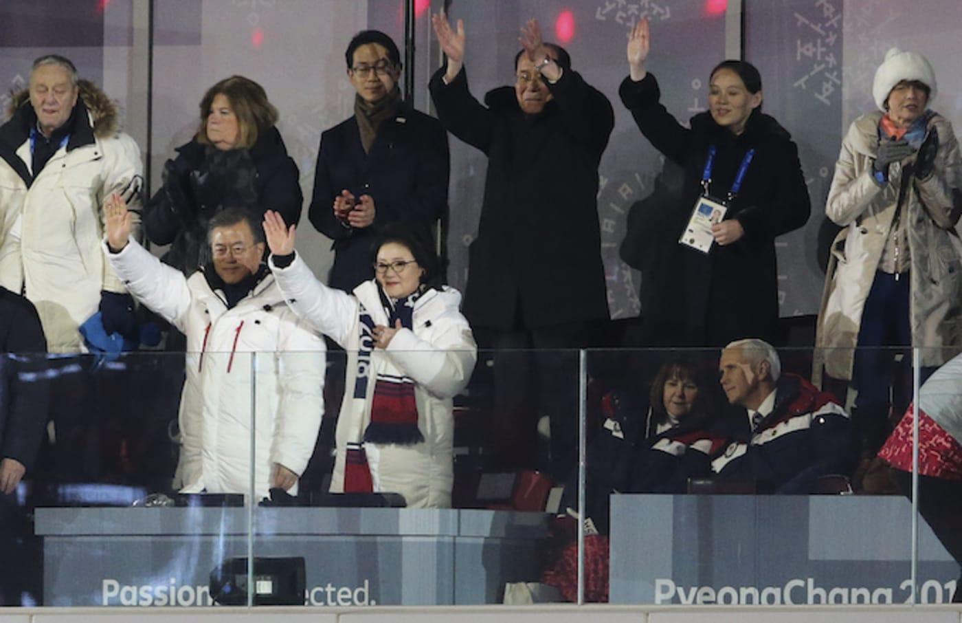 Mike Pence and his wife look on during the Opening Ceremony.