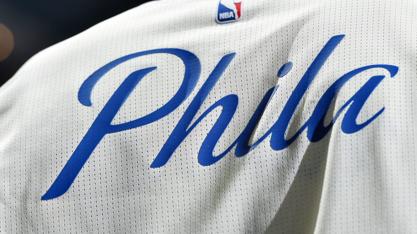 General view of the Philadelphia 76ers logo during the game against Bucks.
