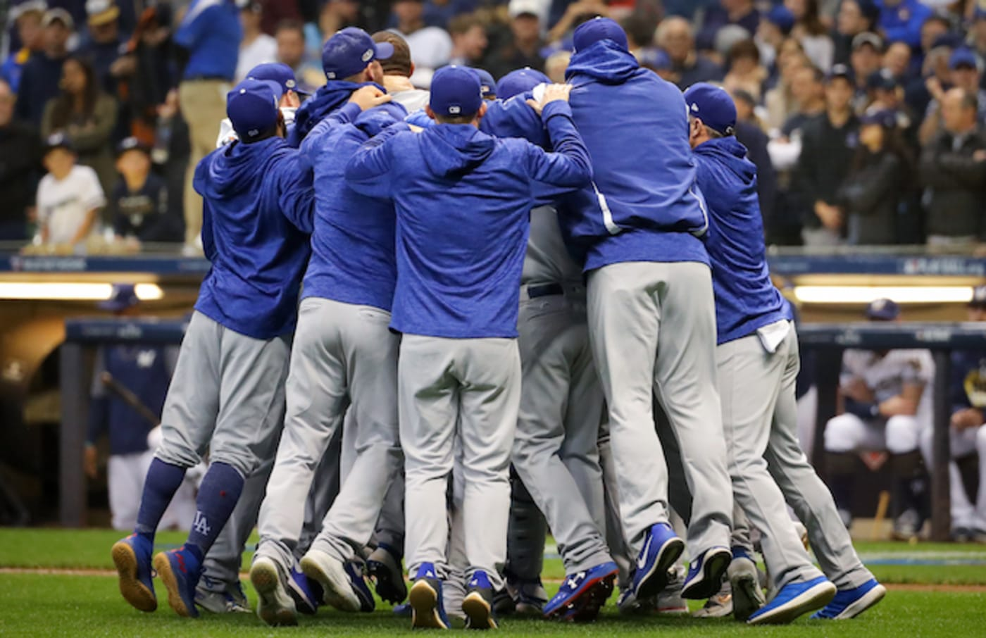 Members of the Los Angeles Dodgers celebrate 2018 NLCS win.