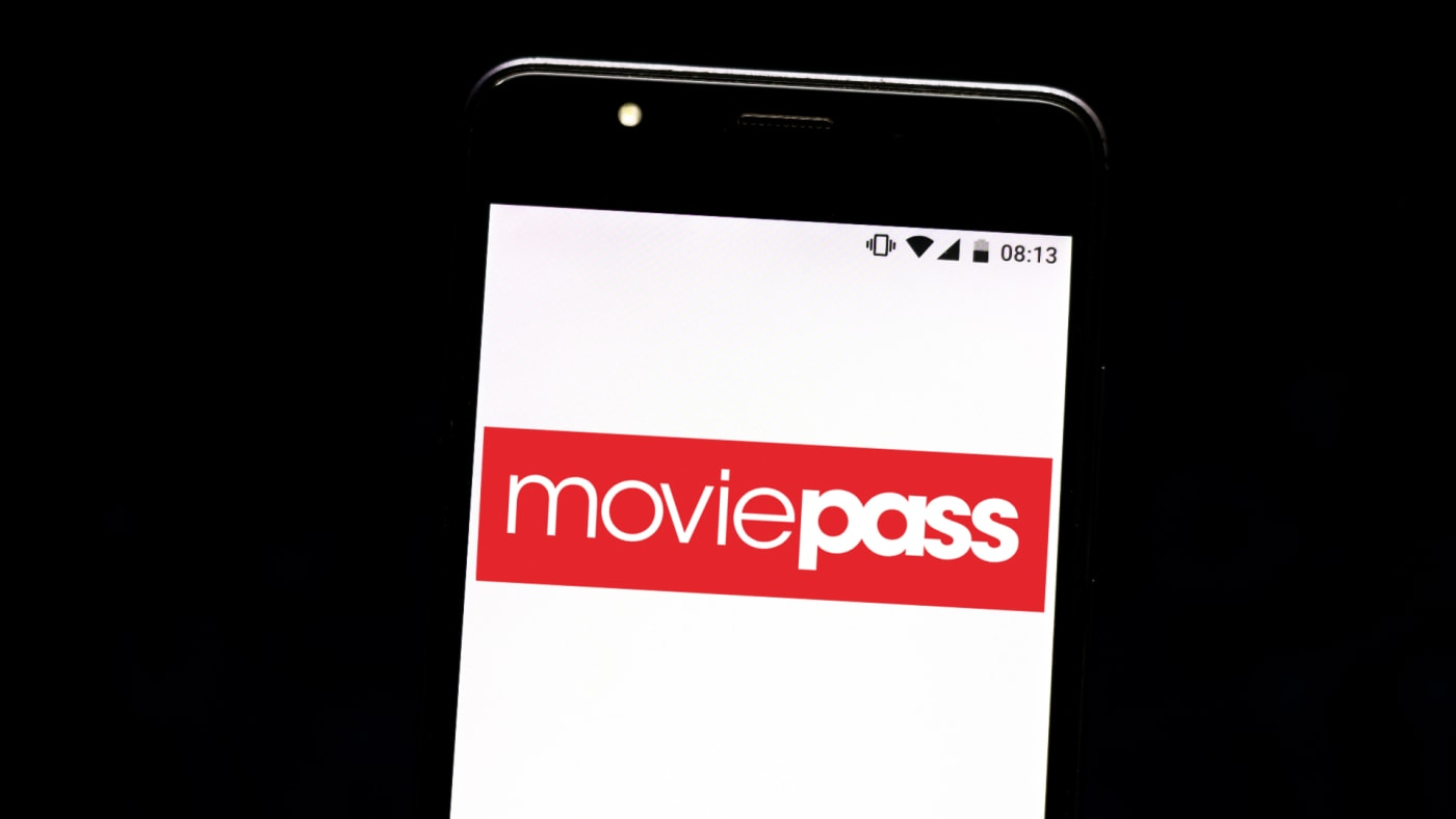 In this photo illustration a MoviePass logo seen displayed on a smartphone.