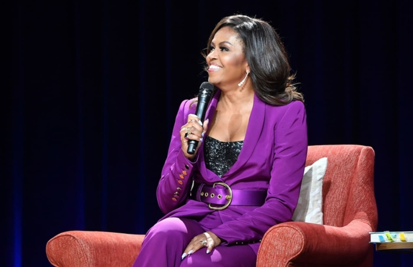 michelle obama stage purple suit