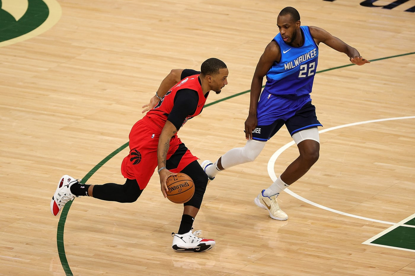 Norman Powell playing while wearing his AND1 sneakers