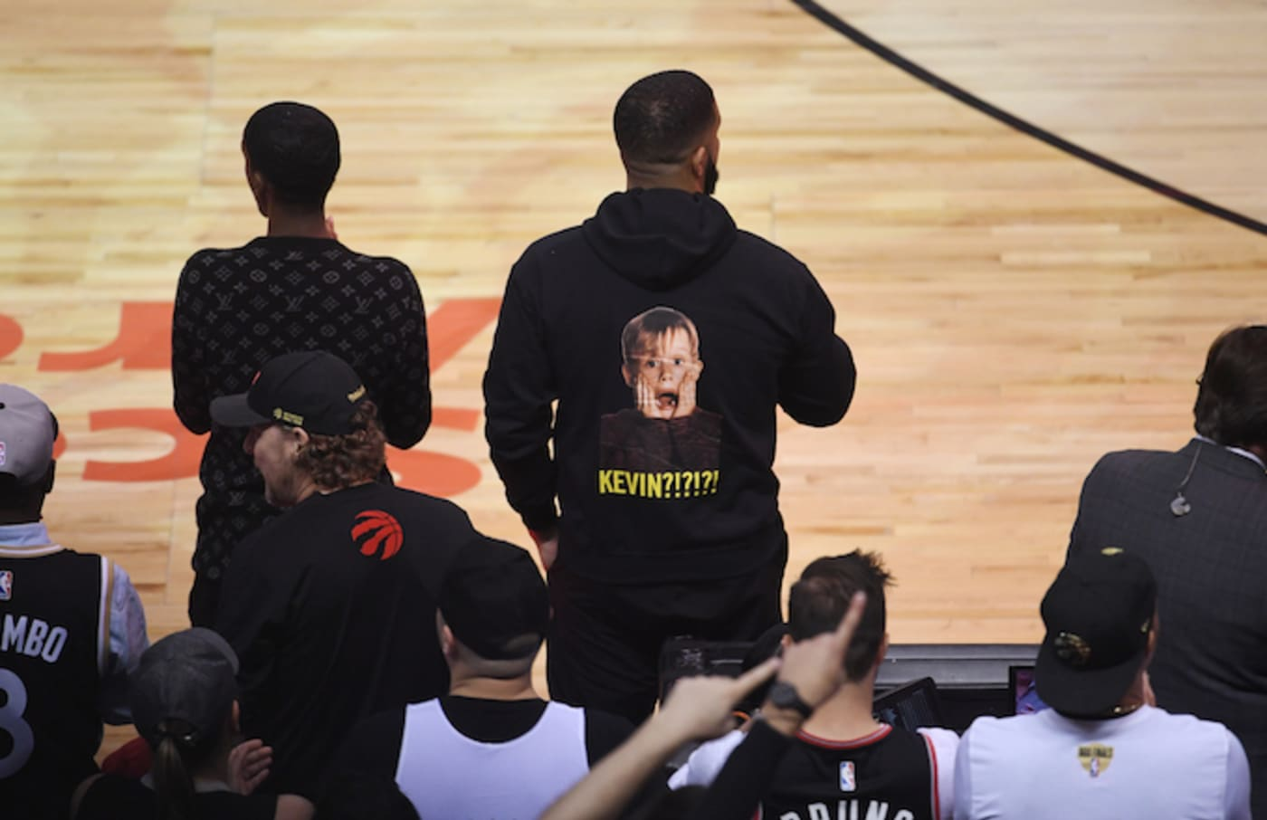 Drake looks on during Game Two of the NBA Finals between Golden State Warriors and Toronto Raptors.
