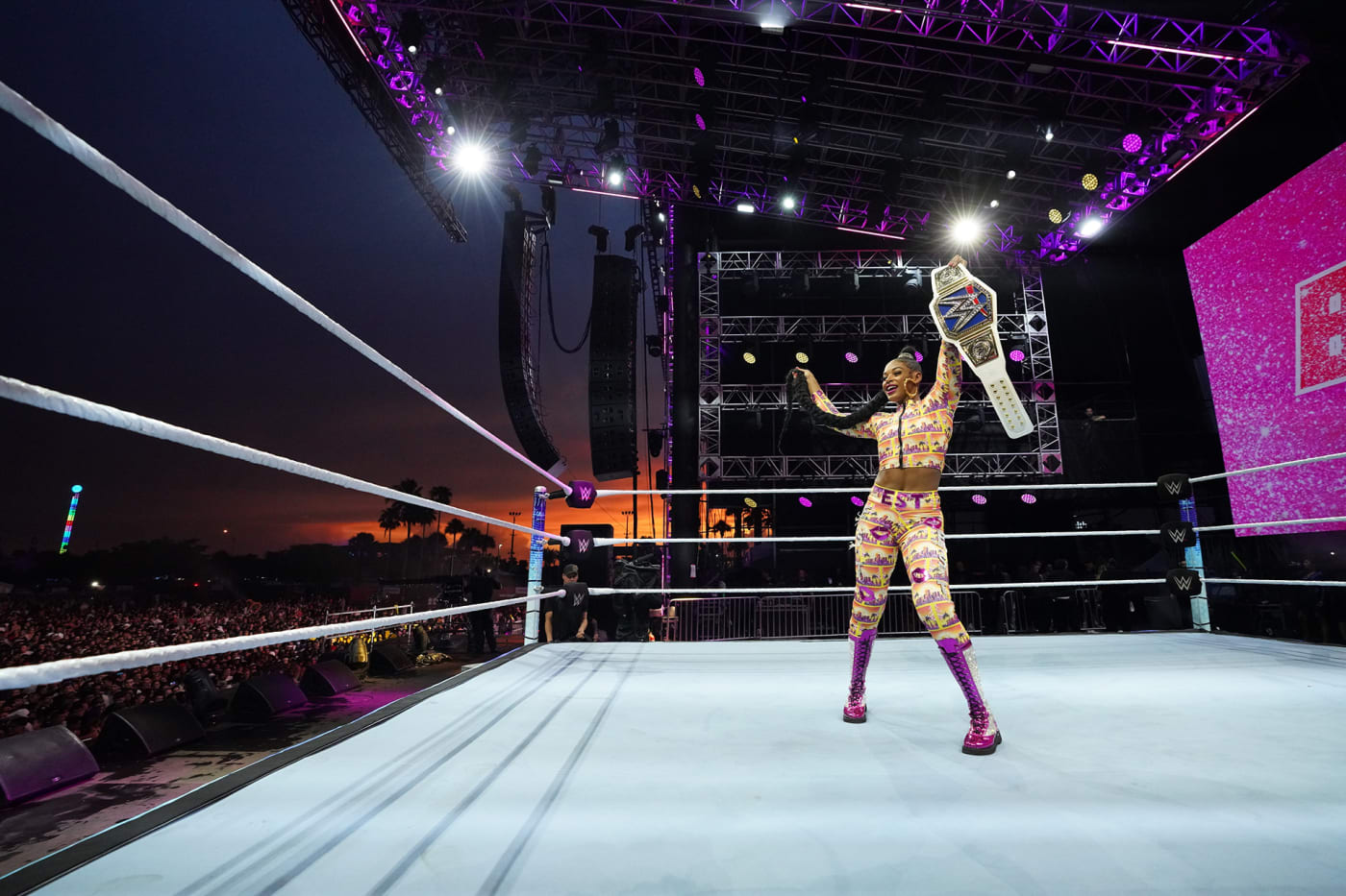 Bianca Belair during WWE SmackDown at Rolling Loud Miami 2021