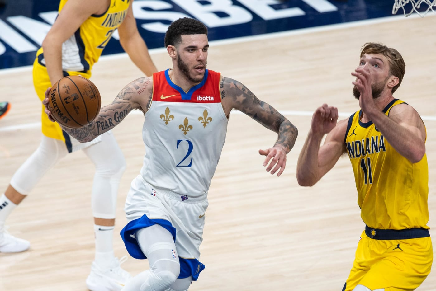 Lonzo Ball Pelicans Pacers 2021
