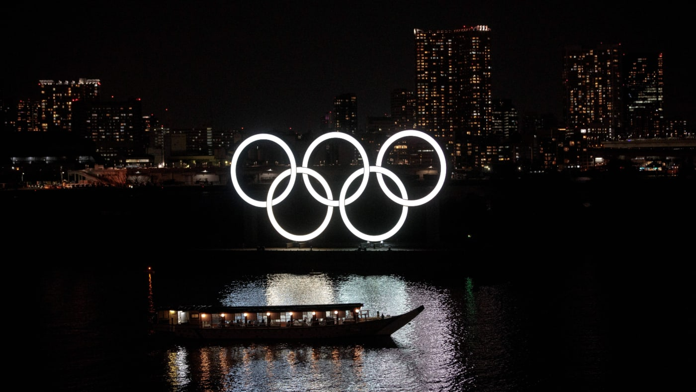 The Olympic rings are seen at Tokyo's Odaiba district.
