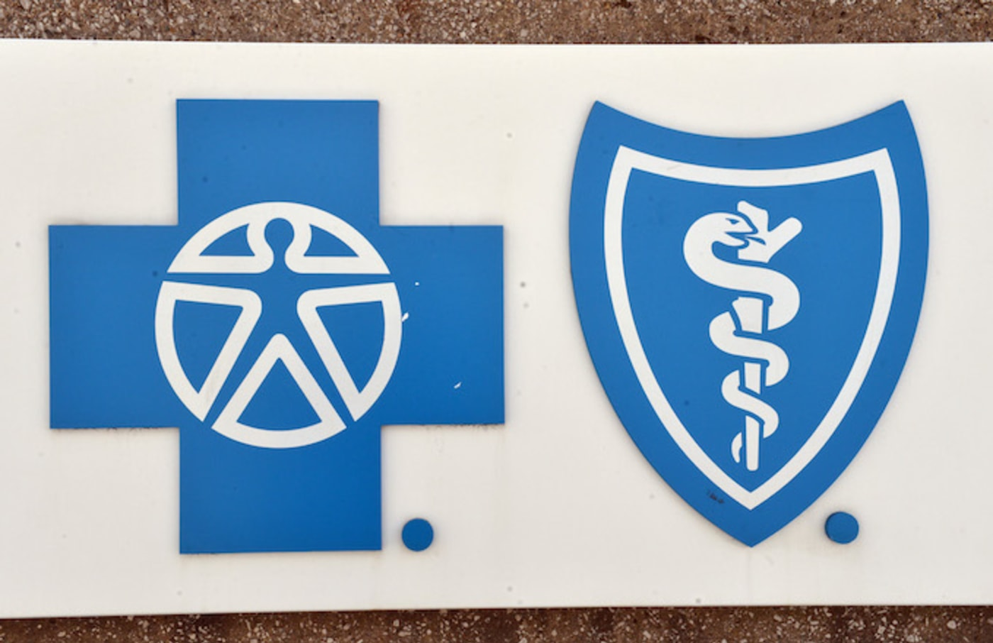 The logo of Blue Cross Blue Shield pictured in the city centre of Detroit.