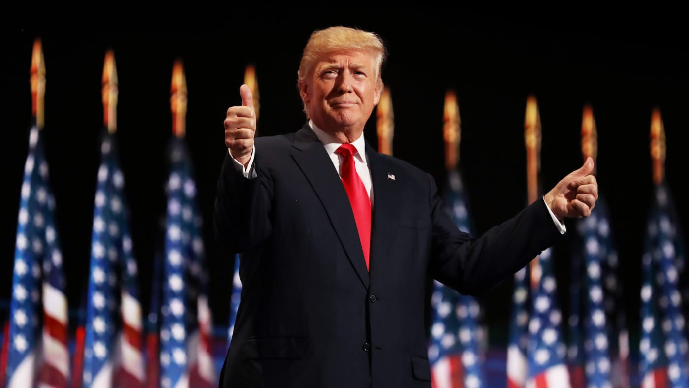 Donald Trump gives two thumbs up to the crowd on the fourth day of the RNC.