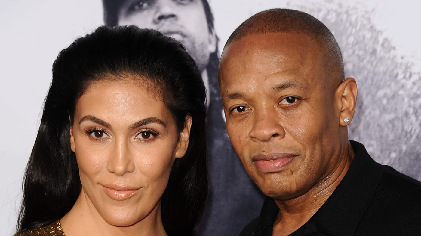 """Dr. Dre and wife Nicole Young attend the premiere of """"Straight Outta Compton."""""""