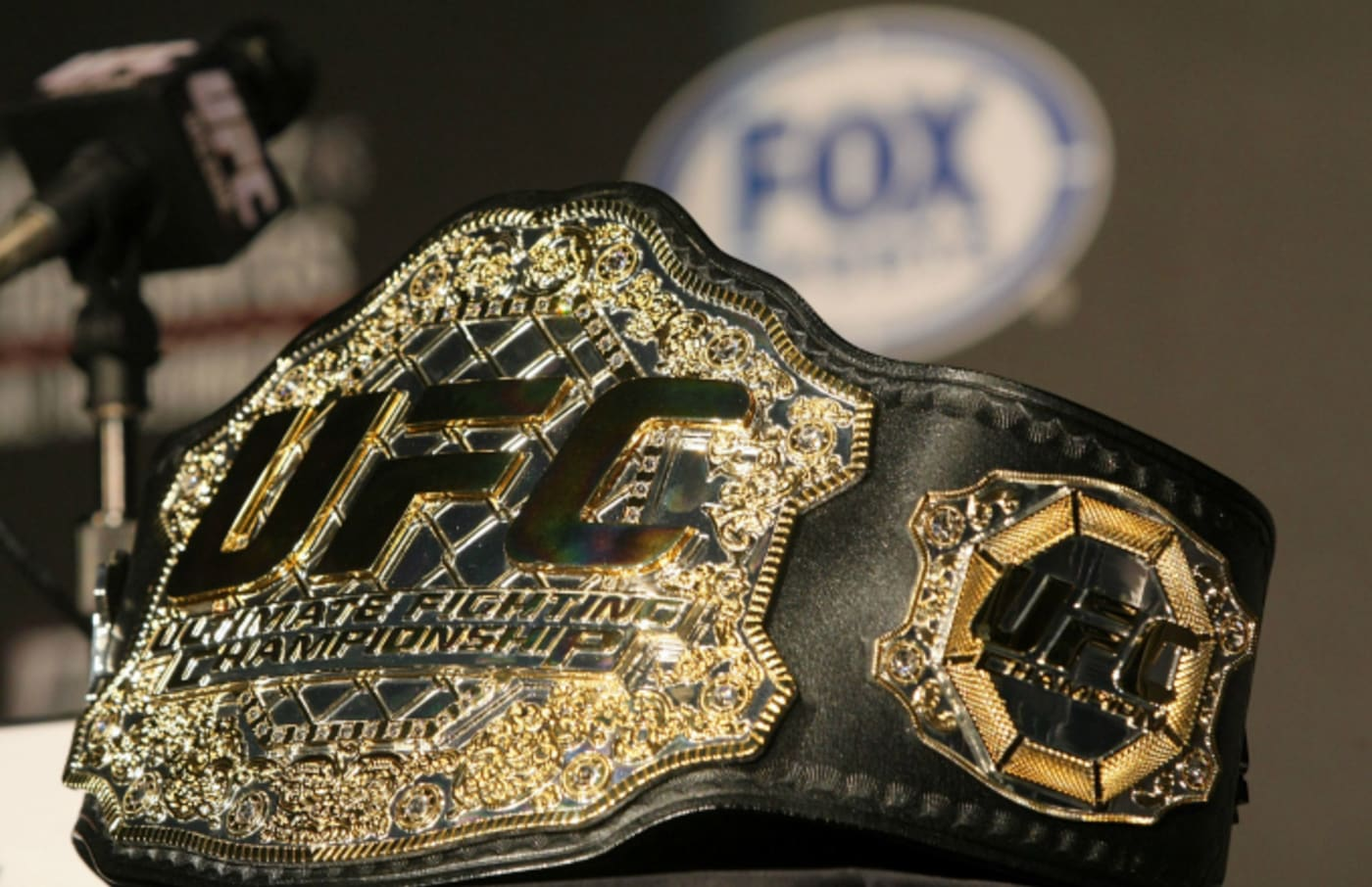 A detailed view of the UFC Championship belt