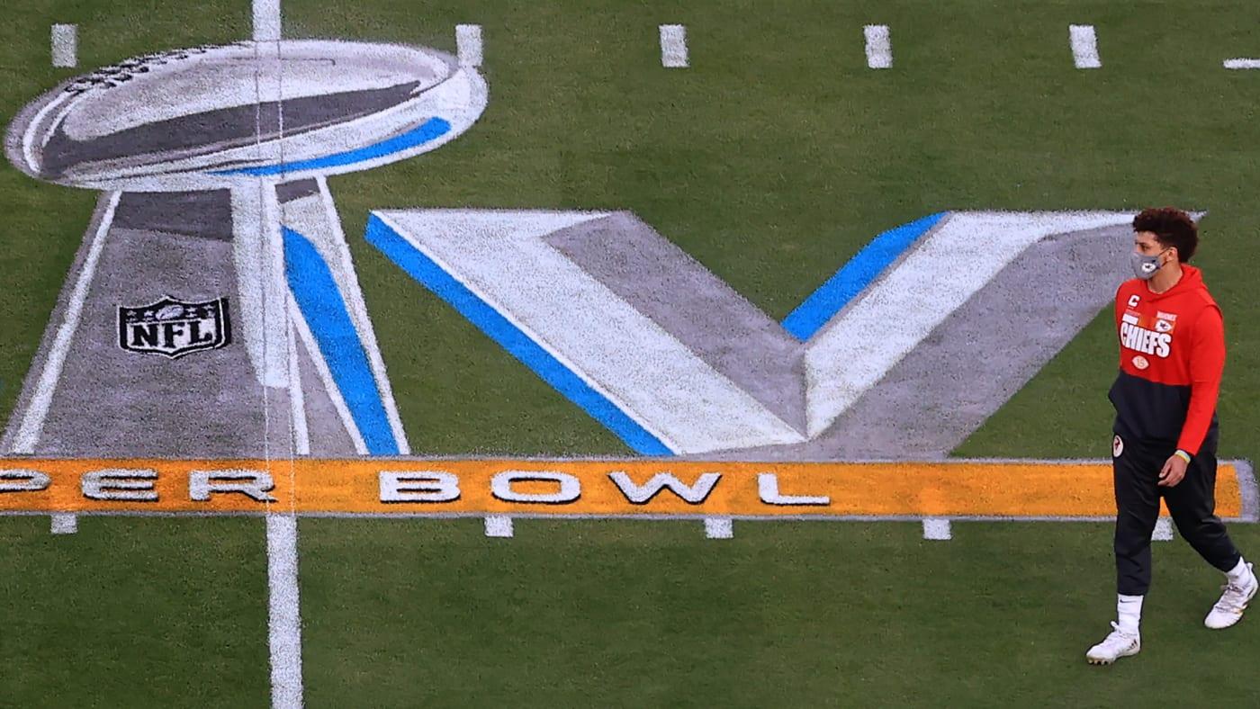 Patrick Mahomes near Super Bowl LV logo