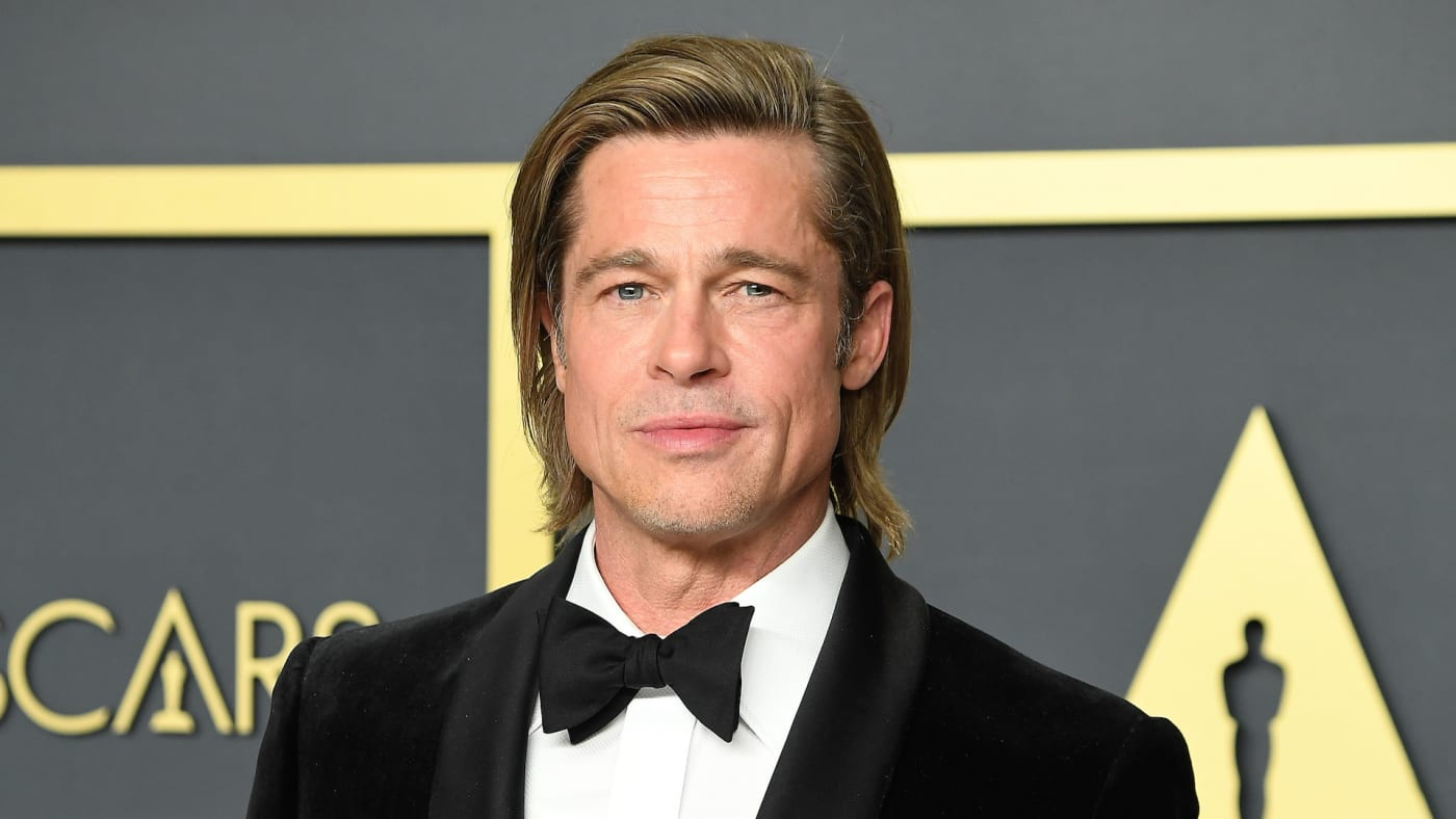 Brad Pitt poses at the 92nd Annual Academy Awards