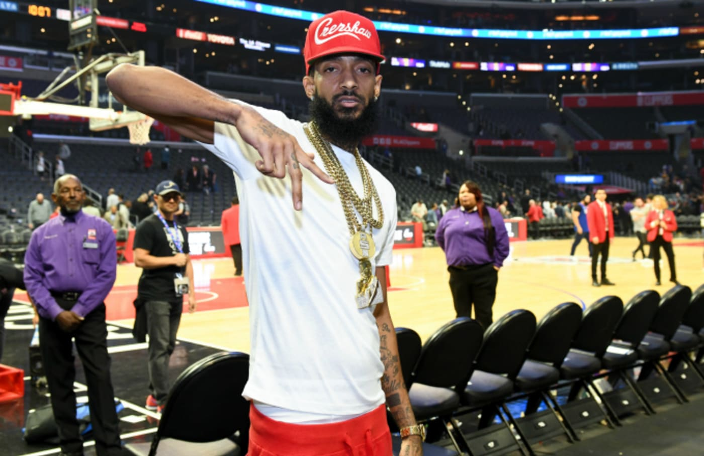 Rapper Nipsey Hussle attends a basketball game