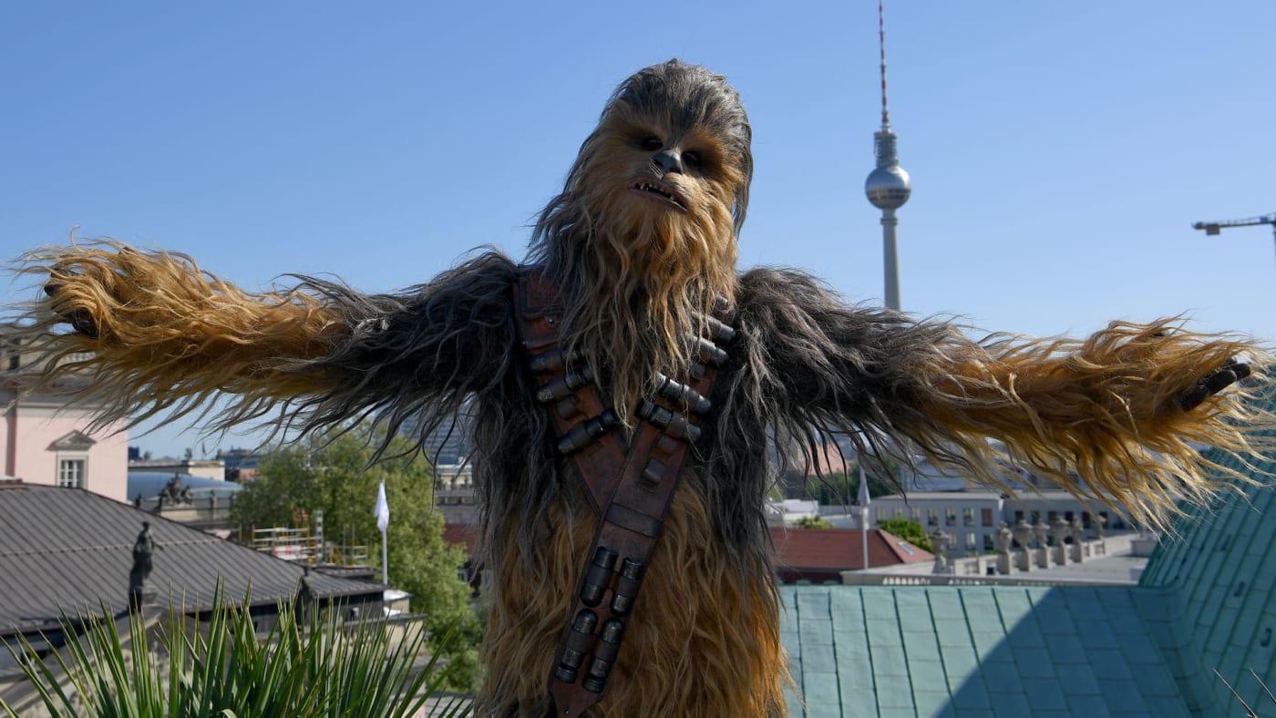 A man in a Chewbacca costume.