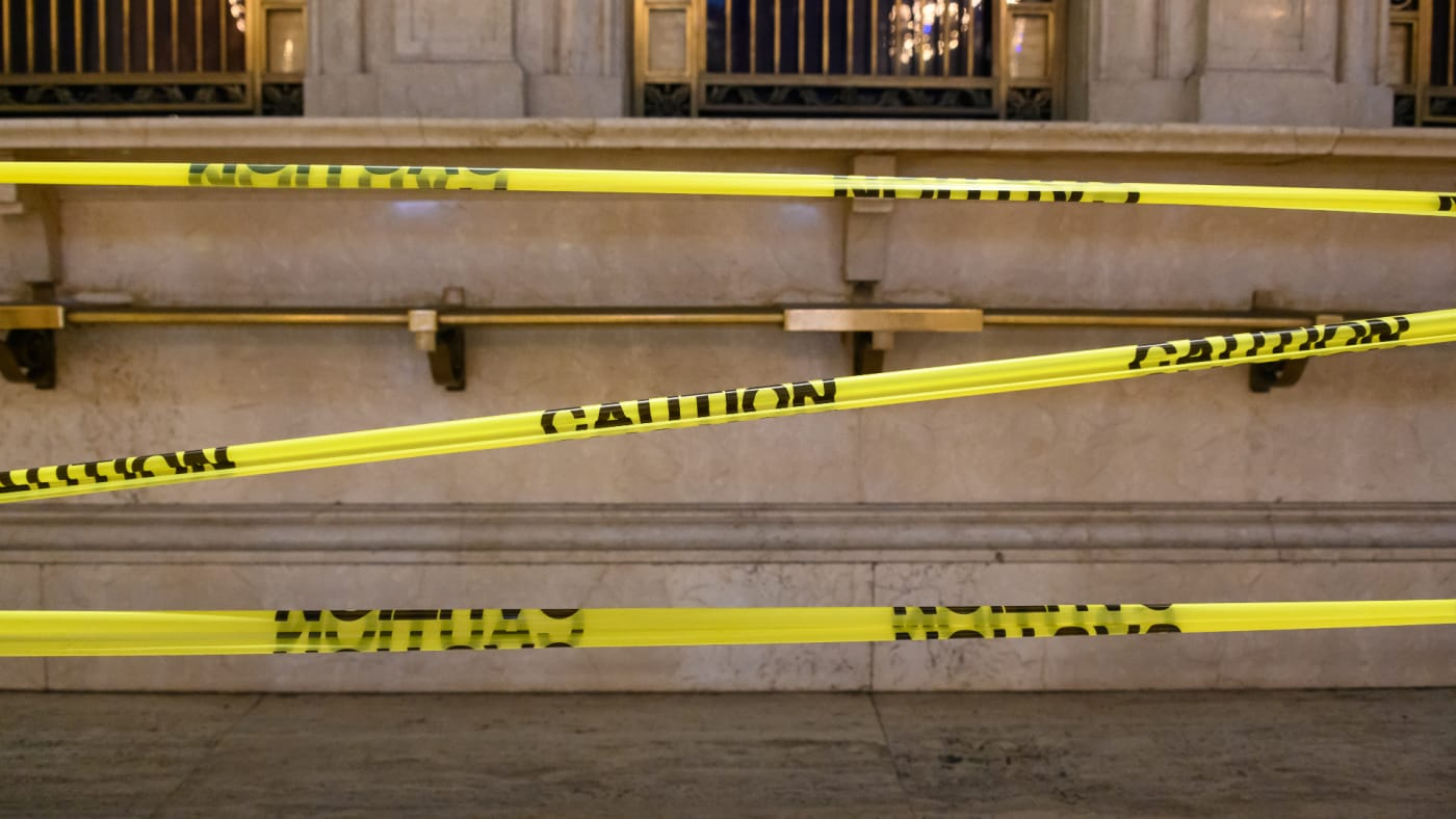 A caution tape placed inside Grand Central during the coronavirus pandemic.