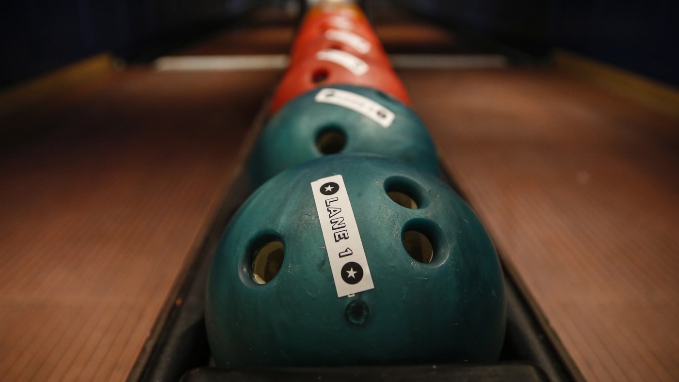 Labelled bowling balls at All Star Lanes bowling alley