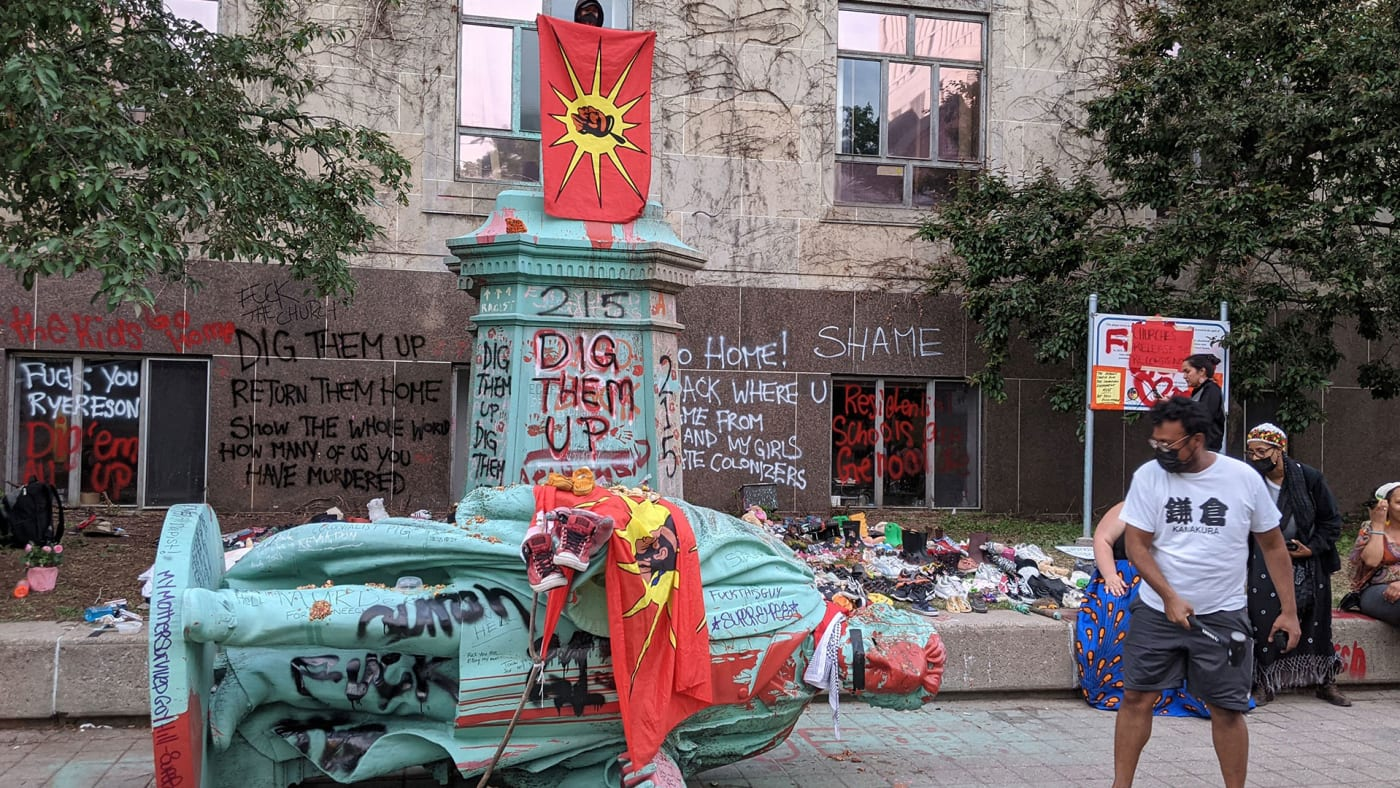 Ryerson University statue toppled amid residential school protests