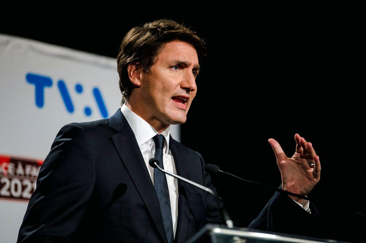 Trudeau speaks during debate