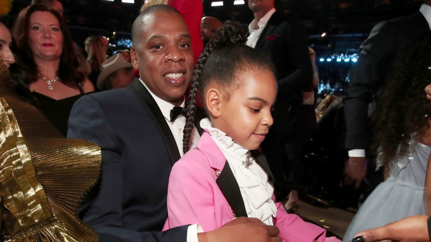 Jay Z and Blue Ivy at the 59th Grammys