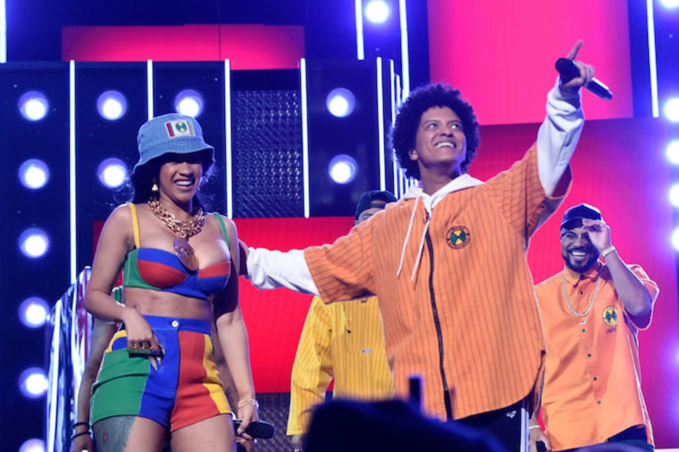 This is a picture of Bruno Mars and Cardi B.