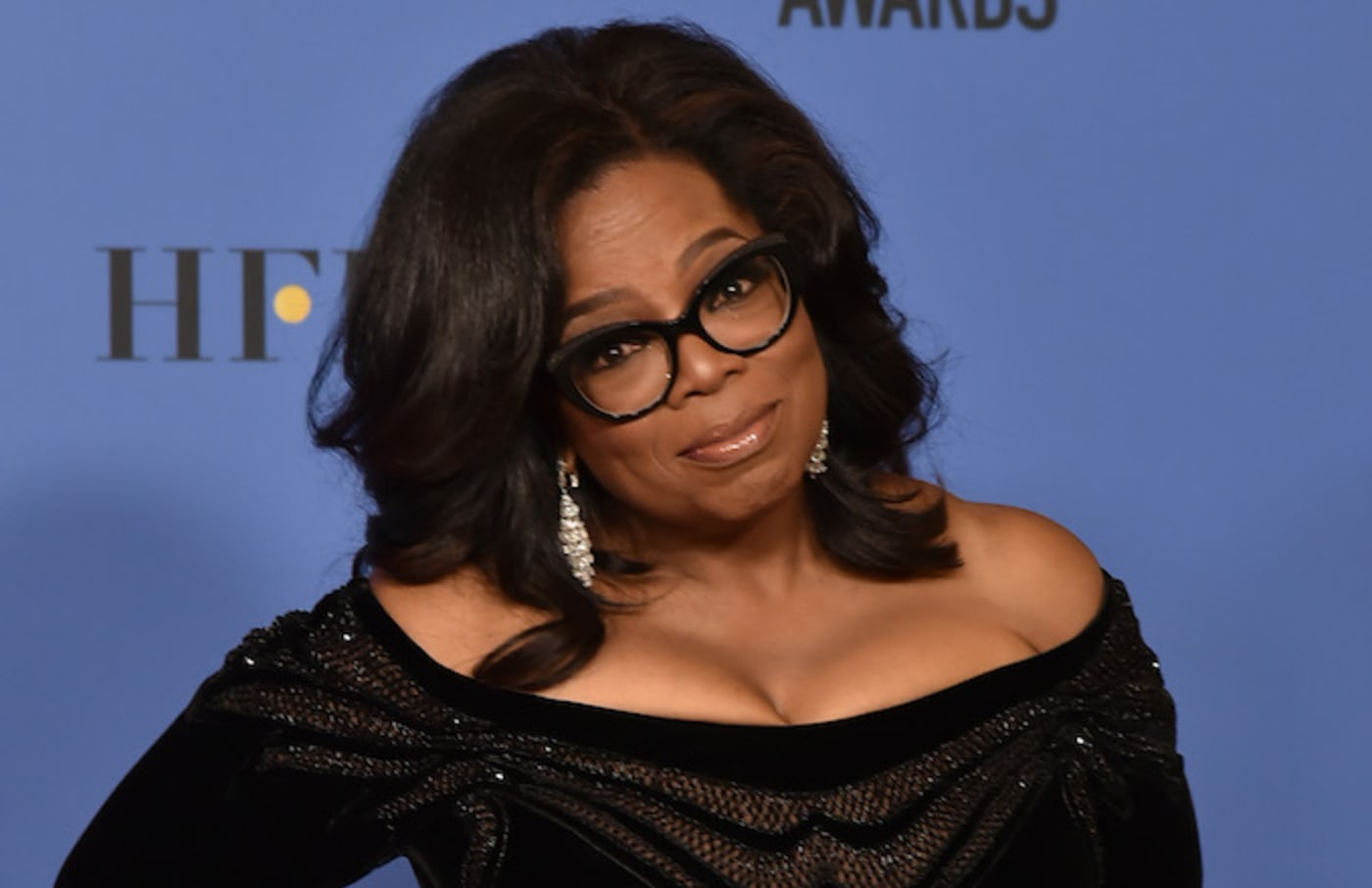 This is Oprah Winfrey at the Golden Globes.