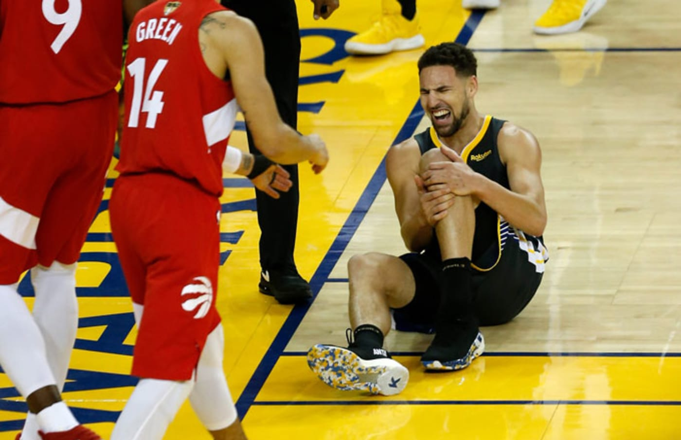 Klay Thompson tears his ACL in Game 6 of the NBA Finals.