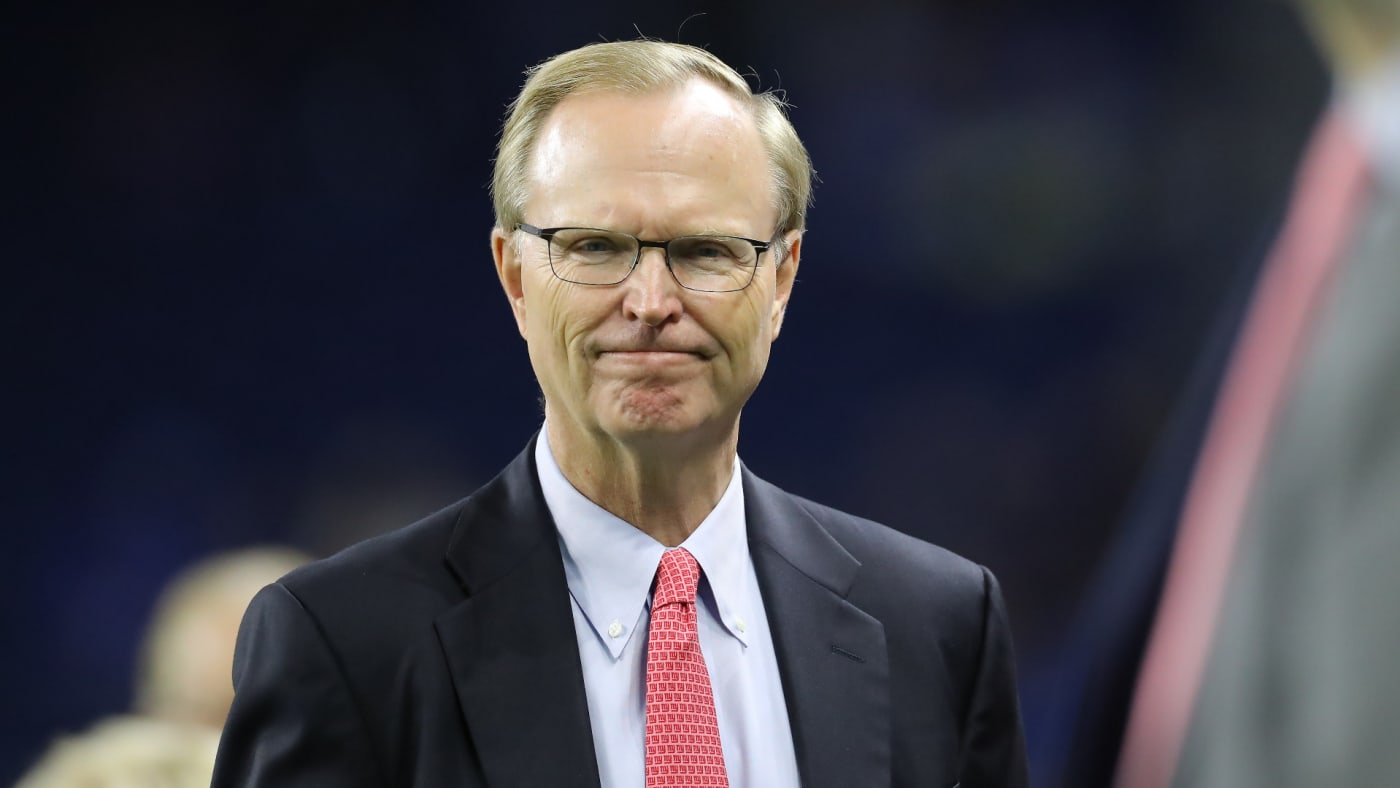 President, CEO and co-owner of the New York Giants John Mara looks on during warm ups.