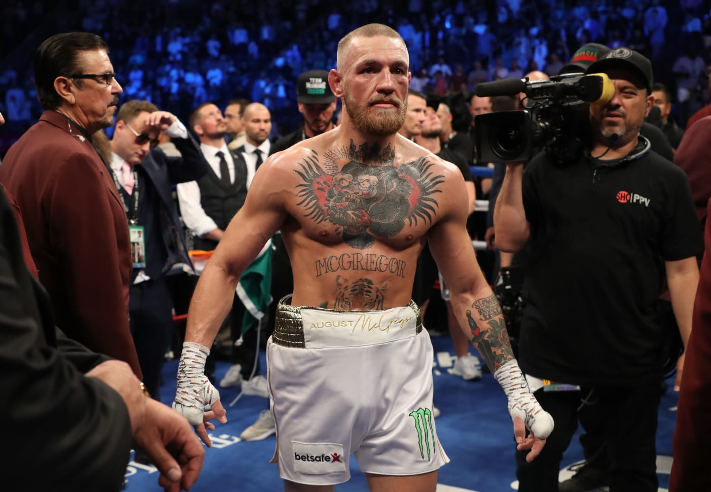 Conor McGregor during his fight with Floyd Mayweather.