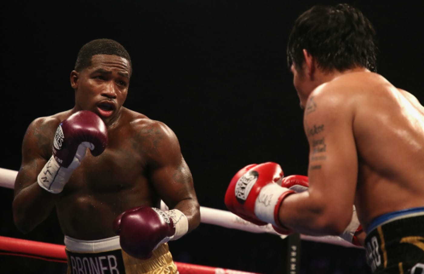 Adrien Broner squares up with Manny Pacquiao