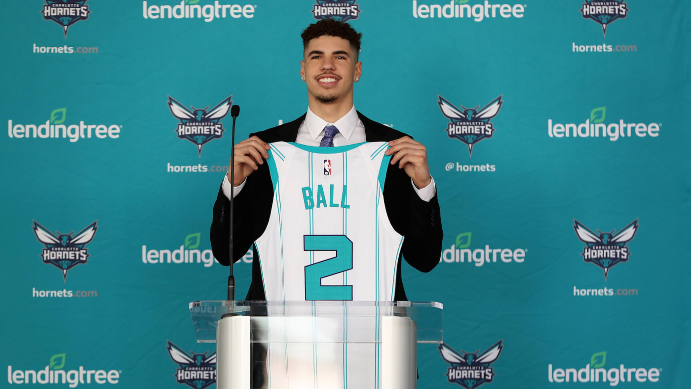 LaMelo Ball of the Charlotte Hornets during a press conference at Spectrum Center