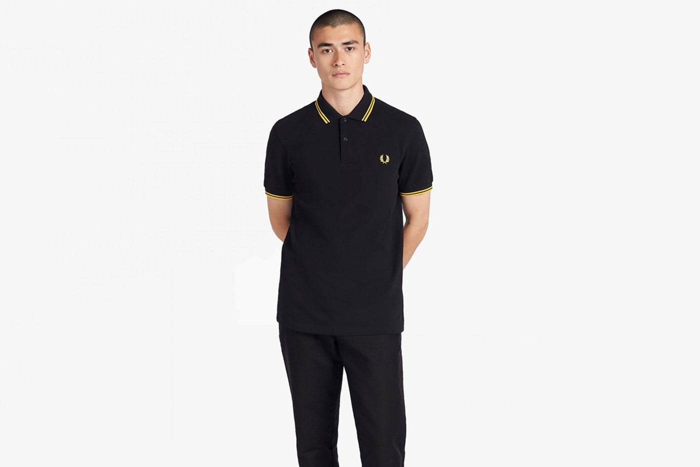 fred perry black yellow twin tipped shirt proud boys statement 01