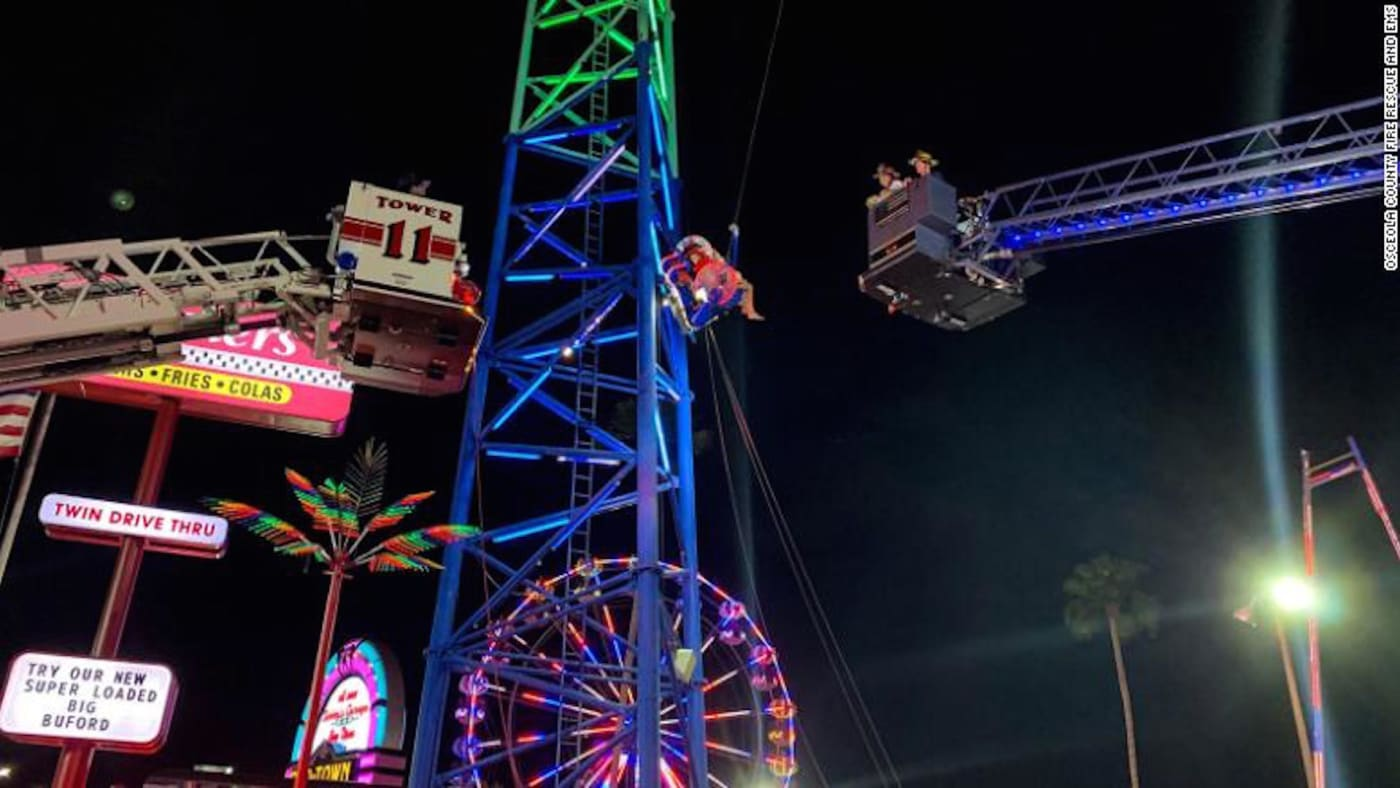 Two Florida teens were suspended on a slingshot ride