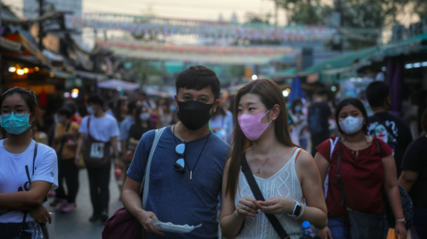 People wearing protective facemasks