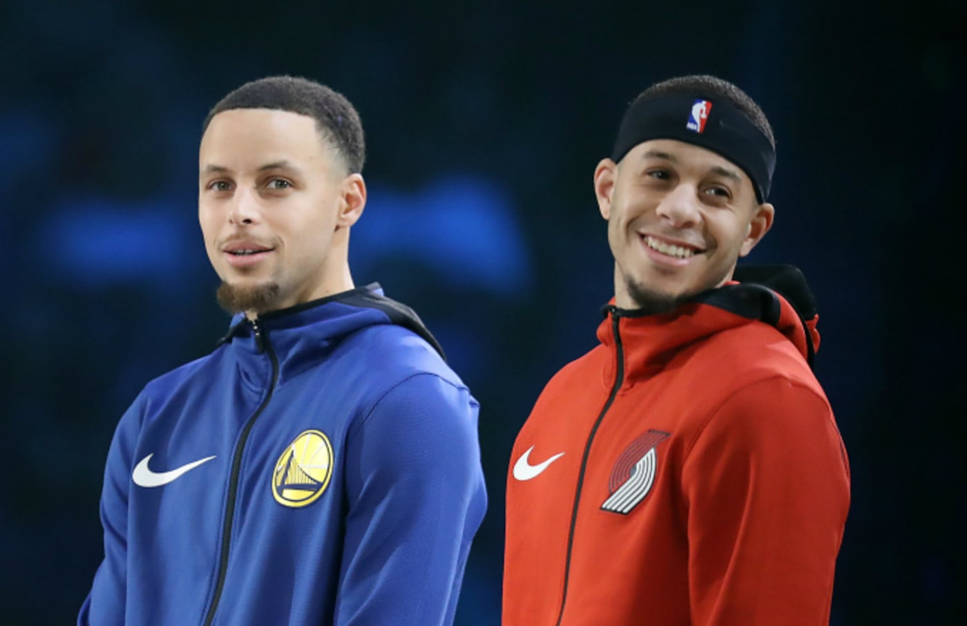Stephen Curry and Seth Curry Look on
