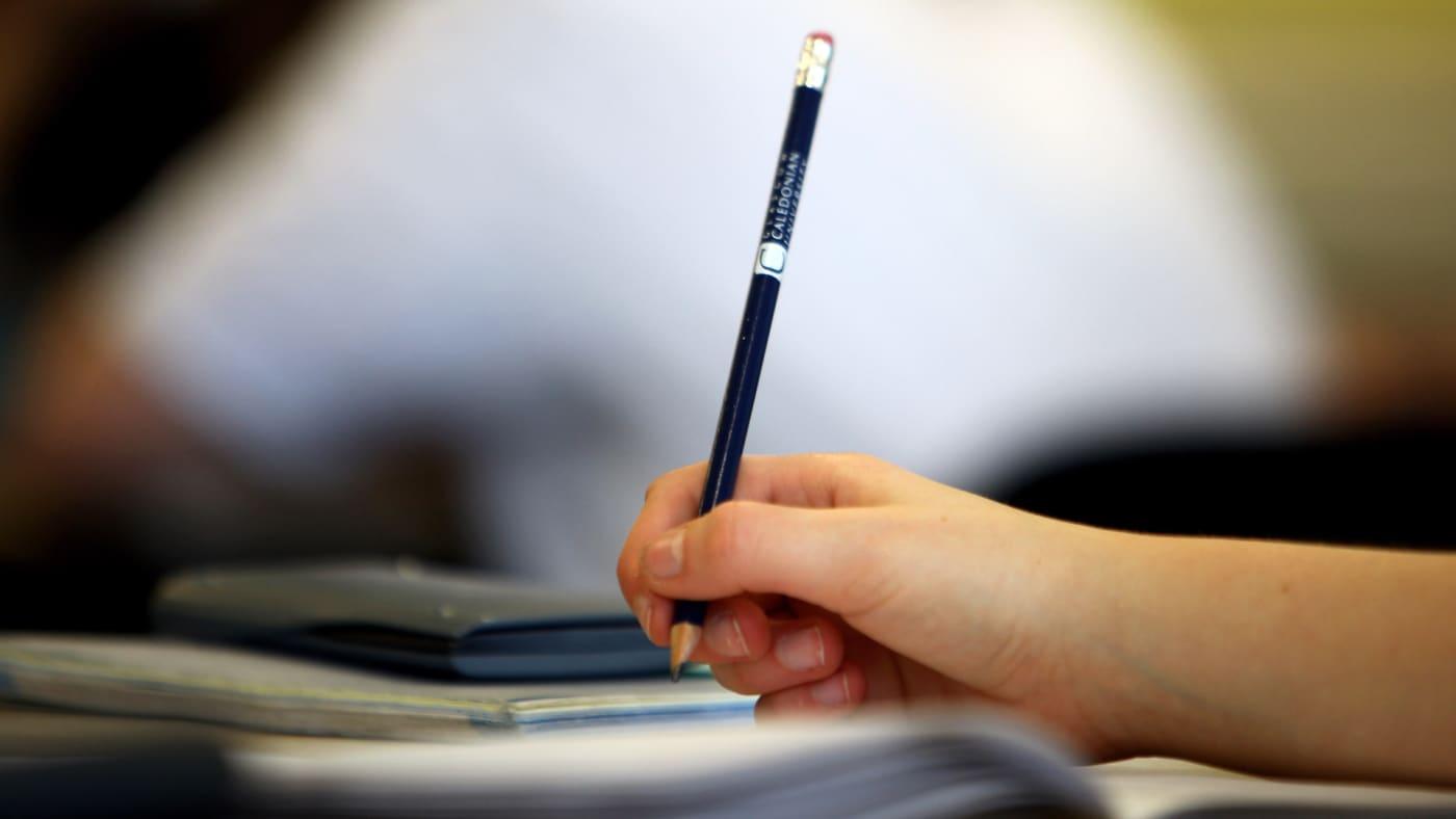 Pupils at Williamwood High School attend a math class.
